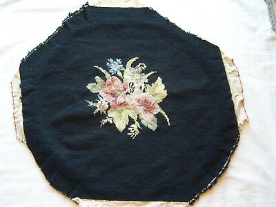BLACK NEEDLEPOINT CHAIR SEAT BACK REPLACEMENT Floral Flowers Wool Old World