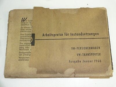 VTG 1960 German Instruction Owner Manual VW Transporter Personenwagen Volkswagen
