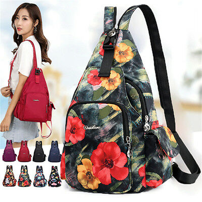 Women Sling Shoulder Bag Travel Crossbody School Book  Waterproof Nylon Backpack