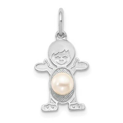 14K White Gold Boy 6x4 Oval Freshwater Cultured Pearl-Jun