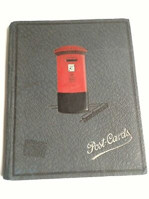 Vintage Postcard Album grey cover with Red UK mailbox