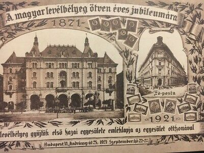 Hungary Postcard 1921 Budapest Post Office Calibration Anniversary Of The  Stamp