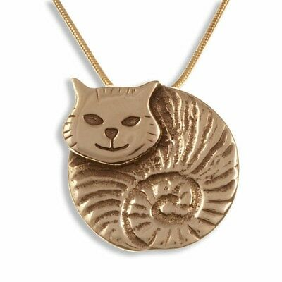 St Justin Bronze Fat Cat Pendant Gold Plated Necklace in Gift Box UK Made BZP90