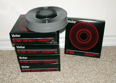 Lot of Five (5) Vivitar S-100 Rotary Slide Tray Carousel In Boxes MINT
