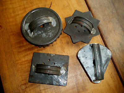 OLD FARM Antique Lot of 4 Primitive SOLDERED Tin Cookie Cutters FLAT BACK