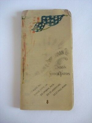 1890s UNION STOCK YARDS Celluloid Advertising Calendar Notepad Mallory Zimmerman