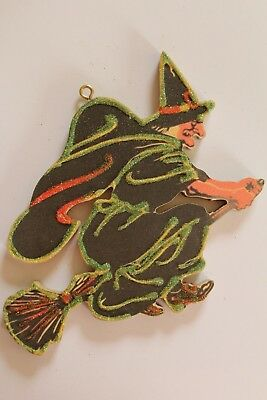 Witch on Broom * Halloween Ornament * Vtg Card Image * Glitter