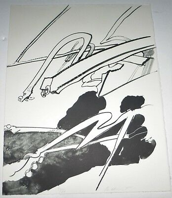 Abstract Lithograph, Richard Hunt Listed Chicago African American Artist
