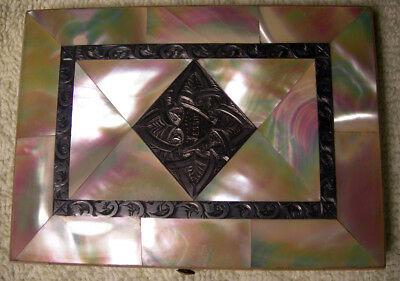 FINE VICTORIAN MOTHER OF PEARL VISITING CARD CASE Stamped Jessie c 1880 3x4.25