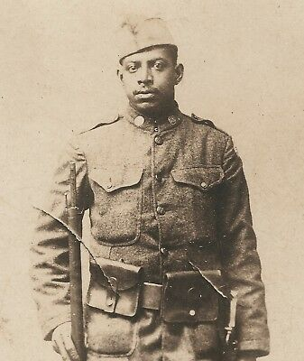 WWI RPPC Armed Black Soldier, 369th, 371st or 372nd Infantry Patched Doughboy