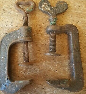 VINTAGE G HAND Clamps SMALL x 2 WOODWORKING TOOLS