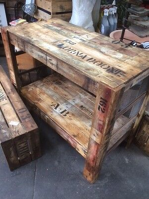 1 x custom Work bench island table rustic wooden old vintage industrial timber