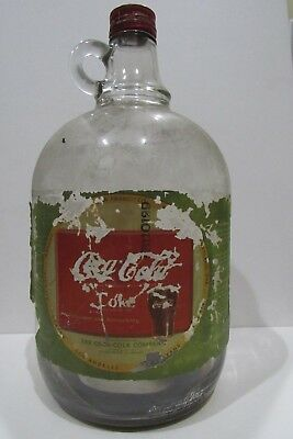 1941 Coca-Cola Coke Syrup Clear Glass 1 Gallon Bottle Jug w/Cap & Label- Residue