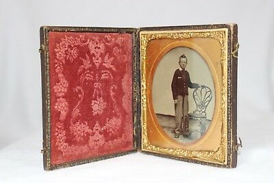 Antique UNION CASE style 1/6 Plate Ambrotype of Preteen Male