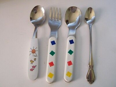 Childrens Baby Stainless Flatware Mixed Lot 4 Pieces