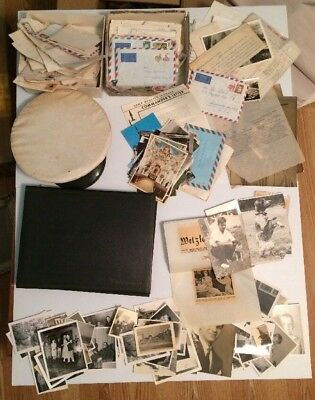 LARGE LOT OF OVER 200 ORIGINAL MISC. WW2 Photos And Letters Hat Active Duty Card