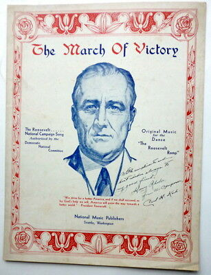 1936 Signed PRESIDENTIAL sheet music FRANKLIN D. ROOSEVELT Campaign Song KOCH