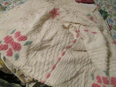 Chenille Bedspread Cameo Style Pink White Queen Size 102 x 118 New Unused