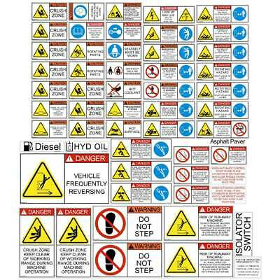 Asphalt Paver Safety Decals Stickers | Express Shipping | Laminated 7Yr Vinyl
