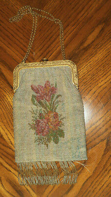 Antique Victorian Metallic Micro Beaded Purse Made In France