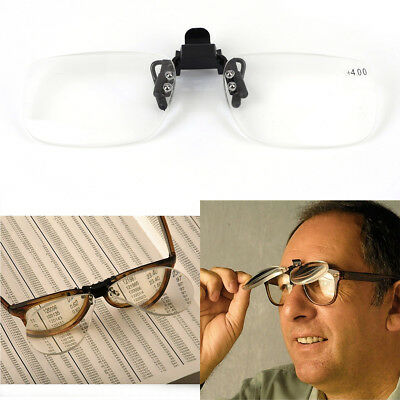 Clip On Flip Up Magnifying Glasses Spectacles Read Fishing Craft x2.5 x3.0 x4.0