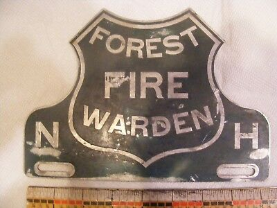 Older Style Metal New Hampshire Forest Fire Warden License Plate Topper