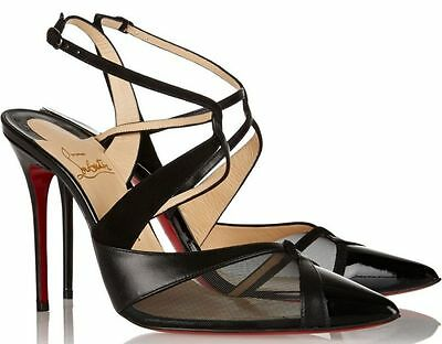 100% Authentic New Women Louboutin Evoluta 100 Patent Black Heels/pumps Us 9
