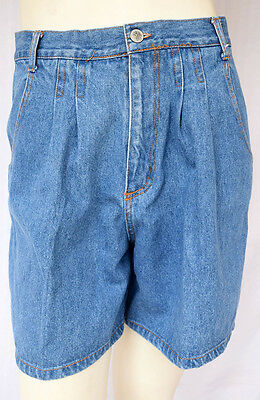 Vintage GITANO Women's Pleated High-Waisted Modest Size 12 Denim Jean Shorts