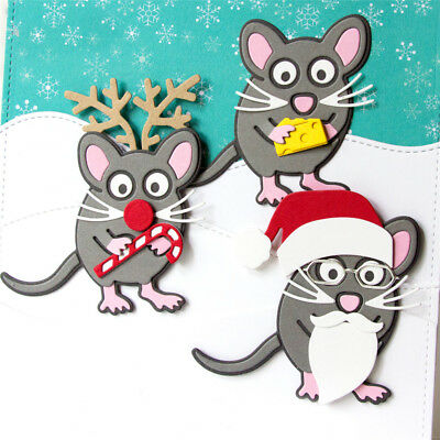 Christmas mouse Stencil Cutting Dies Scrapbooking Embossing Card Paper DecorSTDE