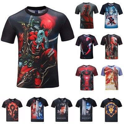 Men's 3D Anime Deadpool Printed T-shirts Short Sleeve Funny Tee New Casual Tops