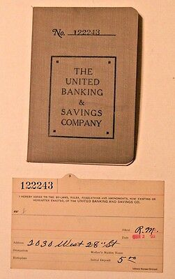 1923 Bank Book & Bank Card United Banking & Savings Co. Cleveland Ohio Vintage