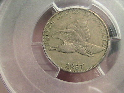 1857 1C Flying Eagle Cent PCGS VF35 PQ Piece