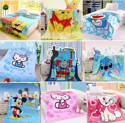 Soft Baby Kid Toddler Nursery Animal Flannel Throw Blanket Cover Quilt Comforter