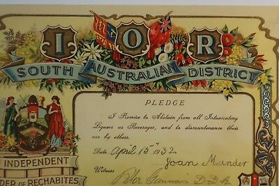 South Australia 1932 I.O.R pledge not to drink liquors lithographic SNK951