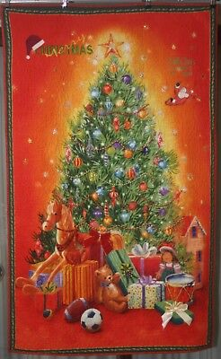 xmas wall hanging quilt, handmade and decorated with embellishments