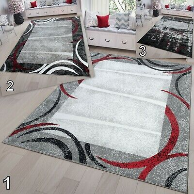 TAPISO Modern Grey Red White Rug High Quality Short Pile Small Extra Large Rugs