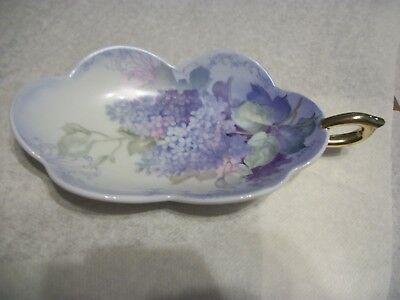 Vintage Hand painted porcelain Candy Dish,  Blues and purple Flowers, Signed