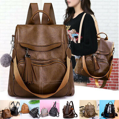 Fashion Women Lady School Leather Girls Backpack Travel Handbag Shoulder Bag