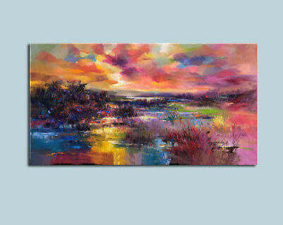 """MODERN ABSTRACT Hand-Painted OIL PAINTING CANVAS """"lingering light """"(No Frame)"""