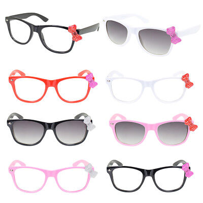 Kids Cute Kitty Cat Bow Clear & Tinted Lens Glasses Age 3-12 - Different Colors
