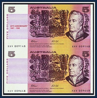 "The ""UNCUT"" Pair of the Elusive Special Prefix XXV $5 25th Anni Fraser & Cole"