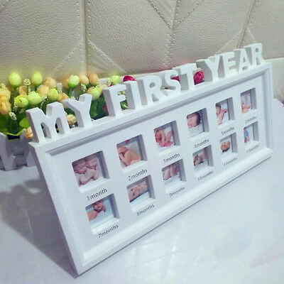 My First Year Baby Photo Frame Picture Display 12 Months Keepsake Collage Wood