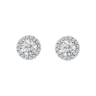 1.90 Ct Round Diamond Halo Stud Earring 14K White Gold Over 925 Sterling Silver