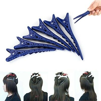 6 Pcs Plastic Hairdressing Salon Matte Sectioning Clamp Hair Clips Hairpin Grip