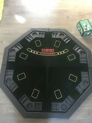 Casino 8 Seat Felt Poker Card Table With Drinks Holder with card shuffler