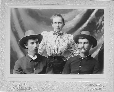 1800's Prescott, Arizona Cabinet Photo - Woman and 2 Handsome Cowboys Twins