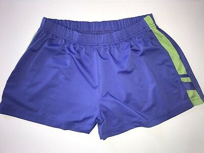 Mossimo Women's Purple Green Athletic Fitness Casual Workout Stretch Shorts Sz L