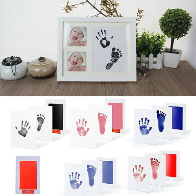 Baby Newborn Handprint Footprint Imprint Clean Touch Ink Pad Photo Frame Kit Hot