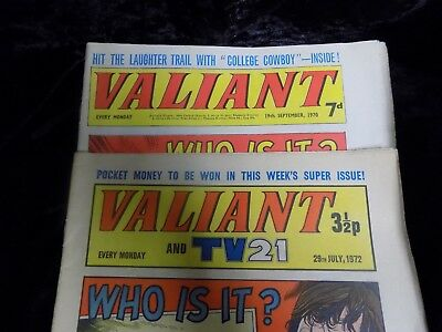 Valiant and Valiant TV21 comics 19th Sept 1970 and July 29th 1972