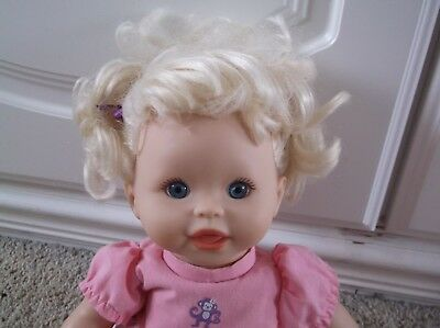 """Fisher Price Little Mommy Doll Talks 15"""" Pretty Blond Dressed With Shoes"""